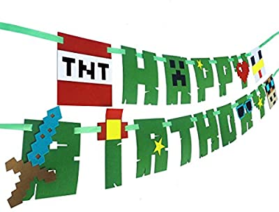 Pixel Party Banner, Minecraft Inspired Happy Birthday Party Supplies for kids