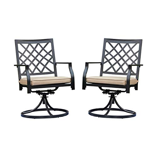LOKATSE HOME Patio Swivel Rocker Furniture Metal Outdoor Dining Chairs with Cushion Set of 2, 2 Chairs-White, 2 Chairs-White