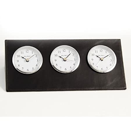 Black Leather Three Time Zone Clock