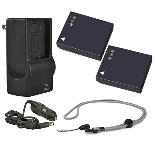 Leica D-LUX 3 High Capacity Batteries (2 Units) + AC/DC Travel Charger + Krusell Multidapt Neck Strap (Black Finish)