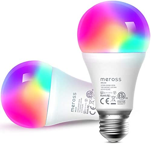 Smart Light Bulb, meross Smart WiFi LED Bulbs Works with Alexa, Google Home, Dimmable E26 Multicolor 2700K-6500K RGB, 810 Lumens 60W Equivalent, No Hub Required,2 Pack