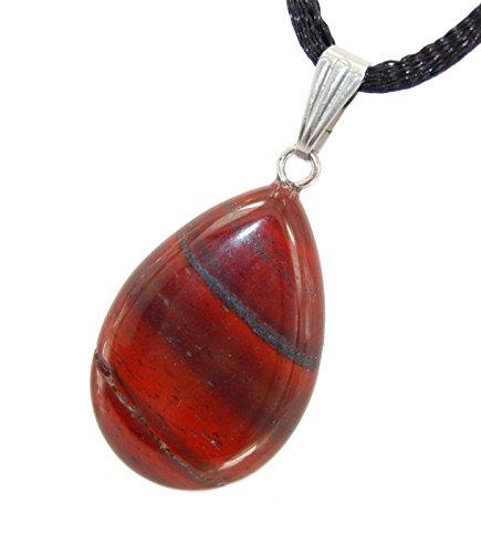 Classic Pear Drop Red Jasper Stripe Black - 20