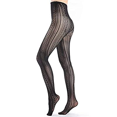 SurBepo Women Fishnet Hollow Out Chiffon Lace Stockings Tights Vertical Strips Pantyhose For Female (Black, One Size) at Women's Clothing store