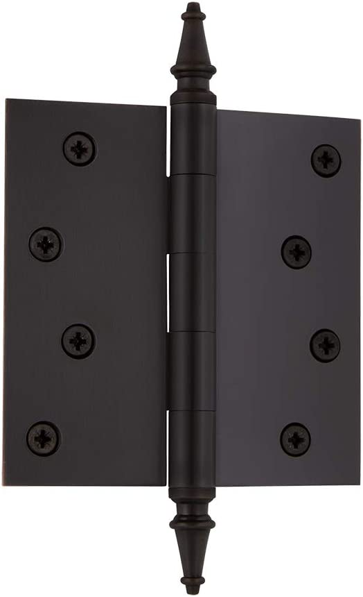 Nostalgic Warehouse 746093 4 Steeple Tip Residential Square Corners Door Hinge Oil-Rubbed Bronze