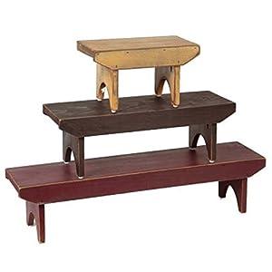 "Home Collection by Raghu WB010000 Barn Red, Black, Nutmeg Bradley Wood Benches (Set of 3), 10"" x 8"" x 6"",23"" x 8"" x 6"",35"" x 8"" x 6"""