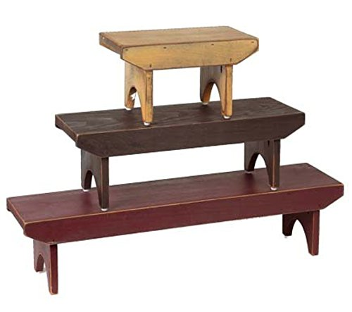 Home Collection by Raghu Barn Red, Black, Nutmeg Bradley Wood Benches (Set of 3), 10''x8''x6'', 23''x8''x6'', 35''x8''x6'', 10'' x 8'' x 6'',23'' x 8'' x 6'',35'' x 8'' x 6'' by Home Collection by Raghu