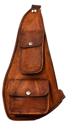"Gusti Leder nature ""Joan"" Triangelrucksack Rucksack Daypack Sling Rucksack Daybag Bodybag Z-Bag Slingpack Echtleder Umhängetasche Ziegenleder Tasche Braun G11"