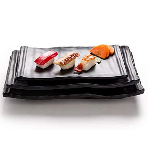 Bazzano Sushi Serving Best Tray Melamine Plastic Hotel Dishes Platter Black A 20.7x13cm