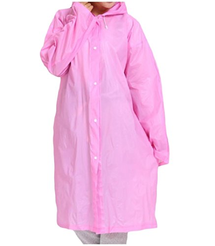 Zago Unisex Fashion EVA Pure Color Thin Hooded Raincoat Jacket Pink One-Size