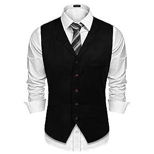 COOFANDY Men's Suede Vest Slim Fit Jacket Casual Suit Vest Waistcoat