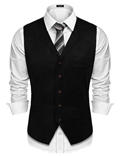 JINIDU Men's Suede Vest Cowboy Leather Collared Suit Vest Waistcoat Slim Fit