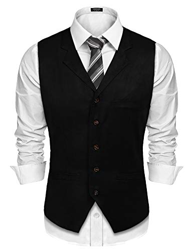 COOFANDY Men's Suede Vest Slim Fit Jacket Casual Suit Vest Waistcoat,Black,Medium - Black Waistcoat