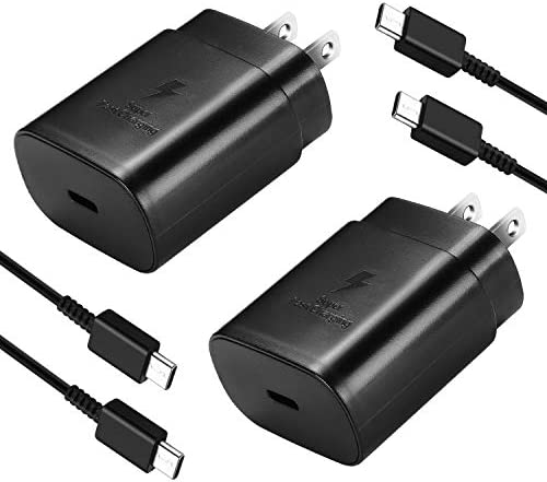 USB C Wall Charger, PD 25W Super Fast Charger for Samsung Galaxy Note10/ 10 Plus/Note 20/20 Ultra/ S20 Ultra / S20 Plus / S20/ S10 5G, 2018 and 2019 iPad Pro 11/12.9 with 5ft Type C to Type C Cable