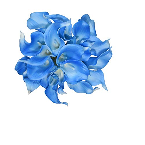 EZFLOWERY 20 Artificial Calla Lily Flowers Real Touch Latex Arrangement Bouquet Wedding Centerpiece Room Office Party Home Decor, Excellent Gift Idea (Small - 20 Pack, Sky Blue)]()