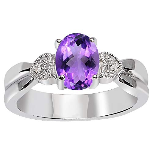 Amethyst & Diamond Stone Rings For Women By Orchid Jewelry: Anniversary & Promise Rings For Women & Her, Purple February Birthstone Wedding Jewelry, Fashion Rings Size 8 (1.10 Ctw)