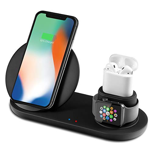 Bestrans Wireless Charger, 3 in 1 Docking Station for Apple Watch 4/3/2/1, Airpods, iPhone XS/XR/X/8/8 Plus, Samsung Galaxy S9/S9 Plus/Note 8/S8/S8 Plus