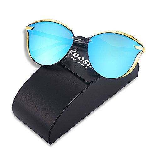 YOOSUN Polarized Sunglasses Womens Cat eye Mirrored UV400 Sun Glasses P0400 (BLACK, BLUE)