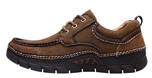 Louechy Mens Plawas Promenadskor Komfort Avslappnad Sko Läder Loafers Tan