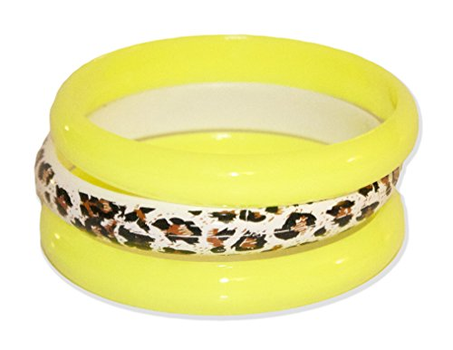 Neon Nation 3 Pack Bangles w/ Cheetah Print 80s Style Bracelets (Neon Yellow) (Plastic Bangle)