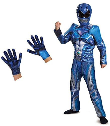 Big Boys' Blue Power Ranger Movie Costume and Gloves Set / Size:  Medium / (Child Blue Ranger Gloves)