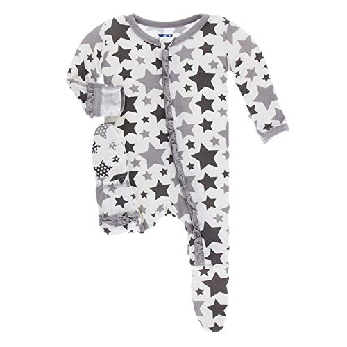 (Kickee Pants Little Girls Essentials Print Layette Classic Ruffle Footie with Zipper - Feather/Rain Stars, 3-6 Months)