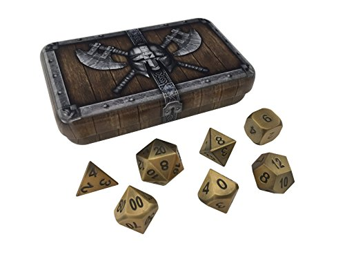 Skull Splitter Dice Antique Gold Color Metal Dice with Black Numbers | Solid Metal Polyhedral Role Playing Game (RPG) Dice Set (7 Die in Pack) with Awesome Dwarven Chest Dice (Solid Zinc Number)
