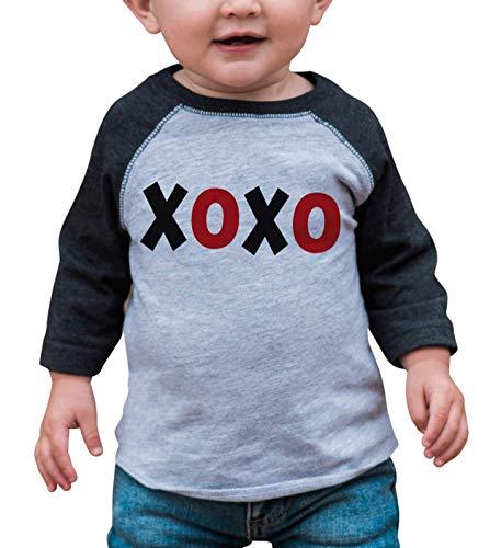 7 ate 9 Apparel Kids XOXO Happy Valentine's Day 5T Grey Raglan (T-shirt Peel Transfer)
