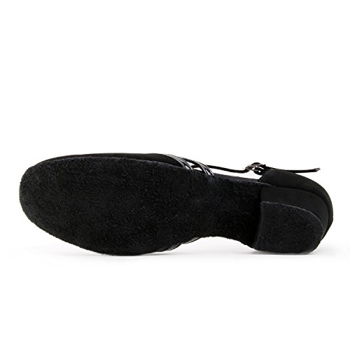 Jig Foo Latin Salsa Rumba ChaCha Praxis Ballroom Dance Schuhe für Frauen schwarz - schwarz