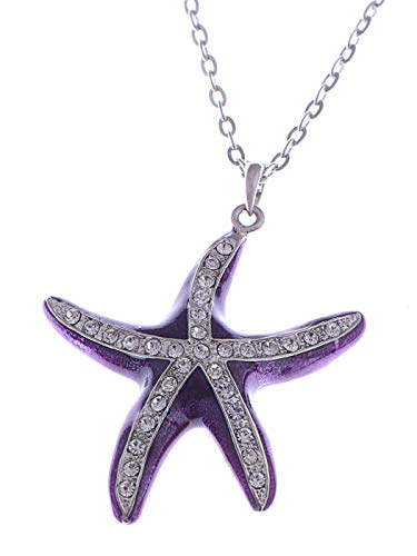 (Alilang Womens Silvery Tone Clear Rhinestones Nautical Purple Starfish Pendant Necklace)