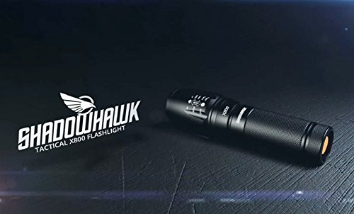 ShadowHawk X800 Tactical Flashlight Cree XPE LED 800 Lumen Basic Bundle + Rechargeable 18650 Lithium-Ion Battery + Wall Charger + AAA Adapter