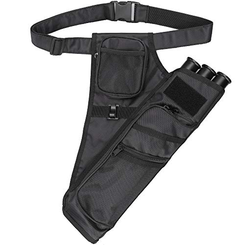 XTACER 3 Tube Hip Quiver Hunting Training Camo Archery Arrow Quiver Holder Bow Belt Waist Hanged Target Quiver (Black -3 -