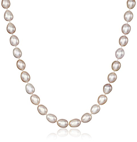 Sterling Silver Strand Freshwater Pearl Necklace (Sterling Silver 7-8mm Pink Rice Freshwater Cultured Pearl Necklace 32