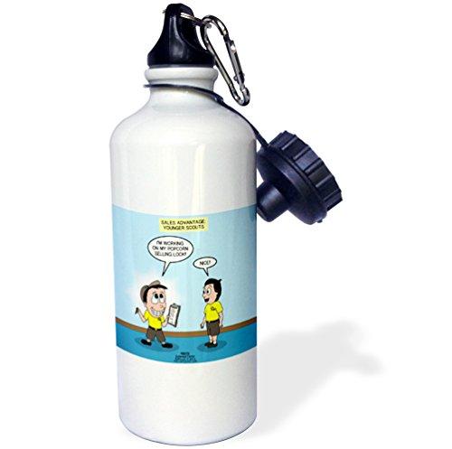 3dRose Rich Diesslin KNOTS Scout Cartoons - Scout Popcorn Sales - The Cuteness Factor - 21 oz Sports Water Bottle (wb_235465_1) (Popcorn Factor)