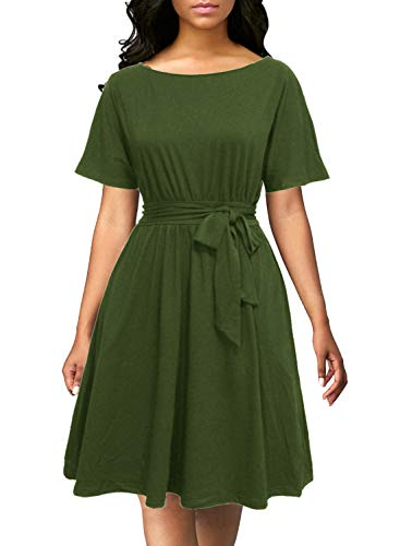 Berydress Women's Vintage A-Line Loose Top Short Sleeve Ruched Pleat Belted Knee-Length Business Wear to Work Dresses (S, 6084-Army Green)