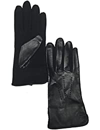Lauren Ralph Lauren Black Leather \u0026 Wool The Touch Gloves