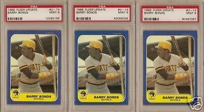 (3) 1986 Fleer Update Barry Bonds Rookie PSA Mint 9
