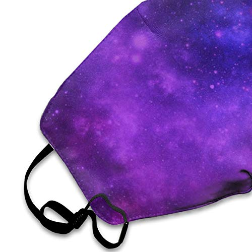 Brilliant Purple Galaxy Washable Reusable Safety Mask, Cotton Anti Dust Half Face Mouth Mask for Kids Teens Men Women Lovers Dustproof With Adjustable Ear Loops