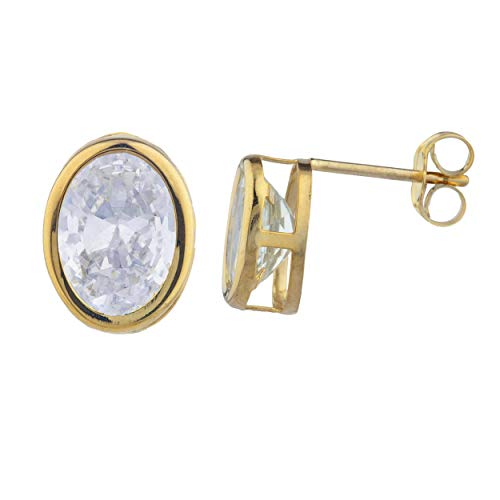 14Kt Gold Created White Sapphire Oval Bezel Stud Earrings ()