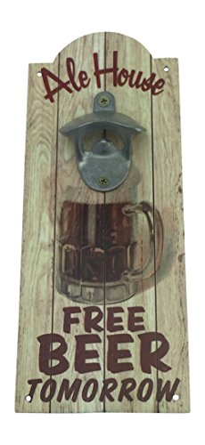 "Beer Bottle Opener Ale House Wall Mounted Wood Plaque 11.25"""