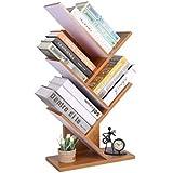 Homebi 5-Shelf Bookshelf Tree Bookcase Wood Bookshelves Storage Rack MDF Tree Shelf Display Organizer for Books,Magazines,CDs and Photo Album Holds Up To 5kgs Per Shelf,15.75Wx8.27Dx30.71H(Bamboo)
