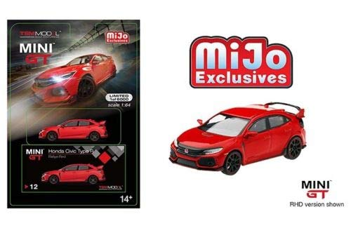 (2017 Honda Civic Type R (FK8) (LHD) Rallye Red Limited Edition to 6,000 Pieces Worldwide 1/64 Diecast Model Car by MINI GT)