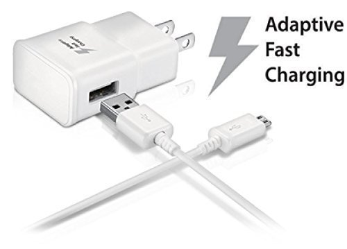Samsung Galaxy Tab S2 9.7 Adaptive Fast Charger Micro USB 2.0 Cable Kit! True Digital Adaptive Fast Charging uses dual voltages for up to 50% faster charging! (Color: White)