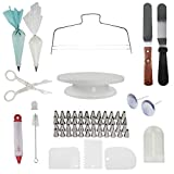 Wrifex 73 pcs Cake Decorating Tools, Your Complete Baking Supplies, This Set Includes Cake Turntable(1), Icing Tips(48) & Icing Spatulas(2), Cake Cutter(1) & Much More for Beautiful Decorations