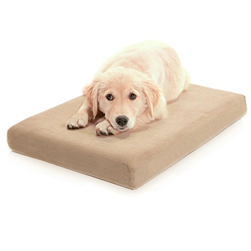 Milliard Premium Orthopedic Memory Foam Dog Bed with Anti-Microbial Waterproof Non-slip Cover, Medium 34x22x4 ()