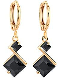 18K Gold Plated Cubic Zirconia Inlay Charming Hoop Dangle Earrings for Women Gift