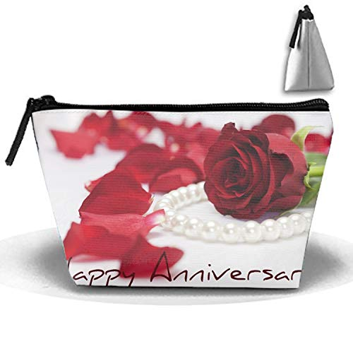 Holiday Anniversary Rose Petal Pearl Necklace Portable Beauty Cosmetic Bag Hanging Storage Sewing Kit