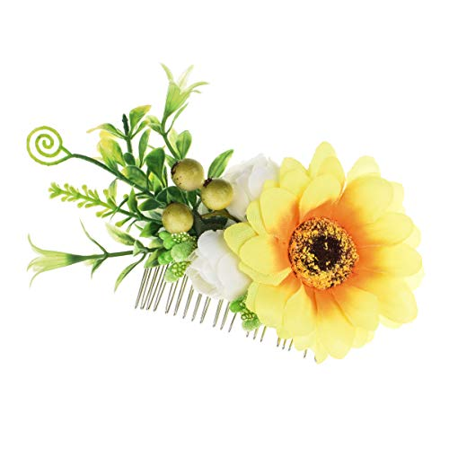 (DDazzling Women's 2 xRose Hair Flower Clips Fascinator Flowers Hair Claw Accessories (#Yellow and Ivory))