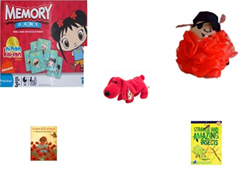 Children's Gift Bundle - Ages 3-5 [5 Piece] - Ni Hao Kai-LAN Edition Memory Game - The Wiggles Captain Feathersword Net Bath Sponge - Beanie Baby - Rover The Red -