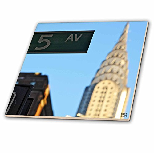 3dRose ct_10268_1 The Chrysler Building is an Art Deco Skyscraper in New York City, Located on The East Street-Ceramic Tile, 4-Inch -