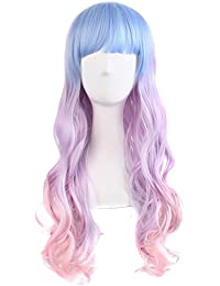 "28"" Wavy Multi-Color Lolita Cosplay Wig Party Wig (Light Blue/ Light Purple/ Pink)"